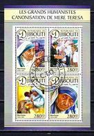 Célébrités Mère Teresa Djibouti 2016 (13) Série Complète Yvert N° 1304 à 1307 Oblitérés Used - Mother Teresa