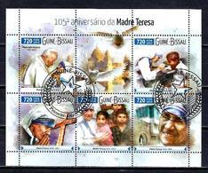 Célébrités Mère Teresa Guinée Bissau 2015 (14) Série Complète Yvert N° 6145 à 6149 Oblitérés Used - Mother Teresa