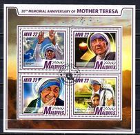 Célébrités Mère Teresa Maldives 2017 (15) Série Complète Yvert N° 5898 à 5901 Oblitérés Used - Mother Teresa