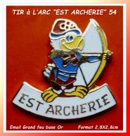 """SUPER PIN'S """"TIR à L'ARC"""" : Situé à NANCY """"EST ARCHERIE"""" En émail Grand Feu Base Or, Visuel TOUCAN"""" Format 2,8X2,8cm - Tiro Al Arco"""