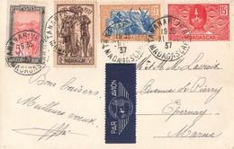 Madagascar Cachet 1937 Timbre Timbres Dont N°196 Sur Carte Postale Tananarive Palais Du 1er Ministre , Pour Epernay - Madagaskar (1889-1960)