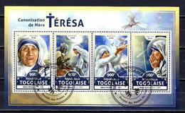 Célébrités Mère Teresa Togo 2016 (21) Série Complète Yvert N° 5410 à 5413 Oblitérés Used - Mother Teresa