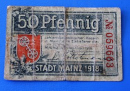 Billet Bank  Allemagne 1918-1933 : 50 Pfenning Stadt Mainz République De Weimar  Collections - 1918-1933: Weimarer Republik
