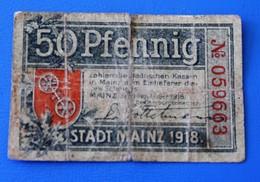 Billet Bank  Allemagne 1918-1933 : 50 Pfenning Stadt Mainz République De Weimar  Collections - [ 3] 1918-1933 : République De Weimar