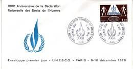 (Timbres). FDC 1er Jour. Unesco 09.12.78 (8) Paris & 17.12.66 (1) Paris & 01.11.58 Paris (2) & 01.11.58 (3) - UNESCO