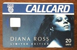 IRLANDE EIREANN TELECOM DIANA ROSS 20U VERSO BLANC SANS PUCE PHONECARD PAS TELECARTE CARD - Ierland