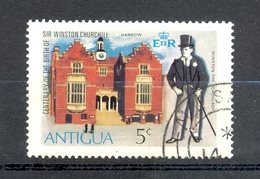 Timbre Oblitéré - ANTIGUA - Centenary Of The Birth Of Sir Winston Churchill - Harrow - Antigua Et Barbuda (1981-...)