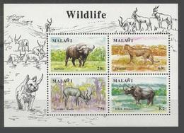 Malawi 1991 Yvert Bloc 74 **. Buffle - Guépard - Koudou - Rhinocéros - Buffalo - Cheetah - Kudu - Malawi (1964-...)