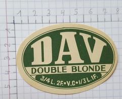ETIQUETTE  BRASSERIE DEHAVAY GOSSELIES DAV  DOUBLE BLONDE - Beer