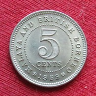 Malaya & British Borneo 5 Cents 1953 Malaia Malaysia Malasia Malaisie Malaysie Wºº - Malaysia