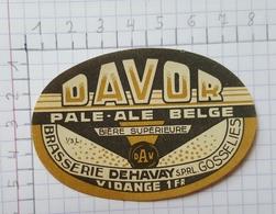 ETIQUETTE  BRASSERIE DEHAVAY GOSSELIES DAVOR PALE - ALE BELGE - Beer