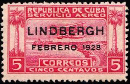 Scott C2   5c Seaplane Over Havana Harbor Overprinted Lindberg Febrero 1928. Unused Hinged. - Poste Aérienne