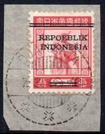DUTCH INDIES/INDONESIA 1945 Interim Period. Jawa. The 3½ Sen Of The Jap. Occup. Set Ovptd. At Bandung On Small Piece. - Indes Néerlandaises