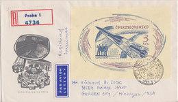 Scott 1264   3k Russian 3-man Space Flight 1964 Praha, Denvydan 12.XI.1964 To Garden City Mich. Registered. Airmai... - FDC