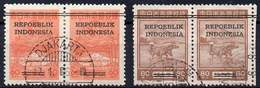 DUTCH INDIES/INDONESIA 1945 Interim Period. Jawa. Pairs Of 60 + 80 Sen Of The Jap. Occup. Set Ovptd. At Bandung, Used - Indes Néerlandaises