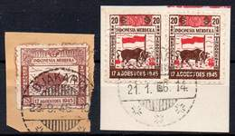 DUTCH INDIES/INDONESIA 1946 Interim Period. Jawa. The Complete Set Of Half Year Of Independence, VF Used On Pieces - Indes Néerlandaises