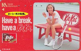 TC Japon / 110-011 - NESTLE MACKINTOSH TENNIS - CHOCOLAT  KITKAT & Femme - CHOCOLATE & Girl Food Japan Phonecard - 6397 - Publicité