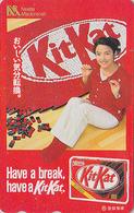 TC Japon / 110-016 - NESTLE - CHOCOLAT  KITKAT & Femme - CHOCOLATE & Girl Food Japan Phonecard - 6401 - Publicité