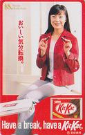 TC Japon / 110-016 - NESTLE MACKINTOSH - CHOCOLAT  KITKAT & Femme - CHOCOLATE & Girl Food Japan Phonecard - 6402 - Publicité