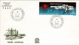 Scott C77   25F Abstract By G. Mathieu 1983 Port Aux Francais Kerguelen, T.A.A.F.  First Day.  P.J. Cachet. Unaddr... - FDC
