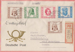Scott 103-106   12pf Hugo (2), 20pf Da Vinci, 24pf Gogol And 35pf Avicenna Portraits 1952 Suhl 1 Registered To Cau... - FDC: Covers