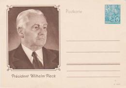 Higgins & Gage 43   10pf Three Workers Postal Card  President Wilhelm Pieck. Unused With Small Crease At Top Left. - Gebruikt