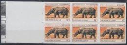 F-EX15071 CONGO 1994 MNH PROOF IMPERFORATED ELEPHANT PALEONTOLOGY BLOCK 6. - Kongo - Brazzaville
