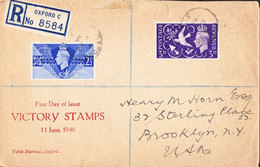 Scott 264-265   2 1/2d And 3d Peace 1946 Oxford, 3 To Brooklyn, N.Y. Registered.  First Day. Printed Cachet.  Tape... - FDC
