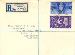 Scott 264-265   2 1/2d And 3d KGVI Victory 1940 Rhiwbina, Whitchurch, Cardiff. Registered Local Use.  Uncacheted. ... - FDC