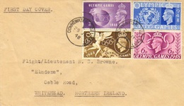 Scott 271-274   2 1/2d, 3d, 6d And 1/ KGVI Olympic Games 1948 Connswater, Belfast To Whitehead, Northern Ireland. ... - FDC