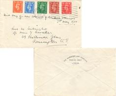 Scott 280-284   1/2d, 1d, 1 1/2d, 2d And 2 1/2d KGVI New Color Definitives 1951 London, E.C. To Kensington.  First... - FDC