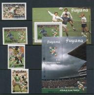 Guyana 1989 World Cup Soccer Italy + 2x MS MUH - Guyana (1966-...)
