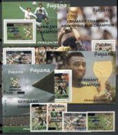 Guyana 1990 World Cup Soccer Germany Opts + 5x MS - Guyana (1966-...)