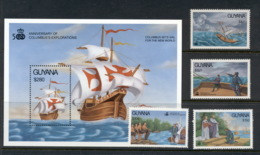 Guyana 1992 Columbus Discovery Of America (4v.) + MS MUH - Guyana (1966-...)