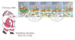 Scott 195-199   25c ChristmasSanta And Reindeer Strip Of 5 1988 Majuro Day Of Issue.  Official Cachet. Unaddressed. - Islas Marshall