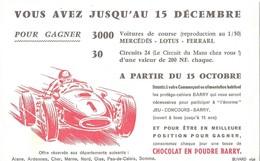 THEME SPORT AUTOMOBILE - BUVARD ANCIEN CHOCOLAT BARRY, CONCOURS VOITURES MERCEDES, LOTUS, FERRARI, CIRCUIT 24 LE MANS - Automobile - F1