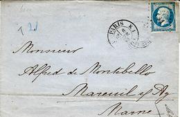 1862- Lettre De Paris Cad  1529    K1  Affr. N°14 Type II Oblit Losange K S 1  Bâton - Storia Postale