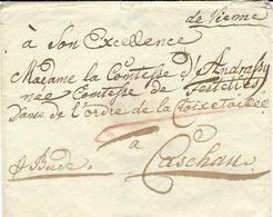 """Enveloppe  """" De Vienne """"   Pour Caschau  ( Hongrie )  """"  A Bude """"   - Arrivée Au Dos / Cachet De Cire - Österreich"""