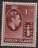 British Virgin Islands 1938 - 47 KGV1 1 1/2d Brown MM SG 112a ( E875 ) - British Virgin Islands