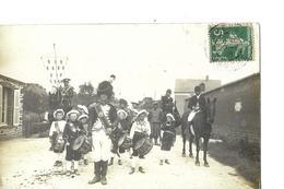 CARTE PHOTO   GROUPE UNIFORME ET GROUPE ENFANT TAMBOUR    CAVALIER ET ARMOIRIES     BREHAL DEPT 50  ? - Postcards