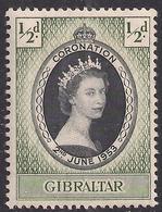 Gibraltar 1953 QE2 1/2d Coronation MM SG 144 ( E236 ) - Gibraltar