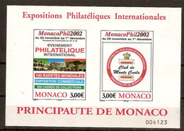 """(Fb).Monaco.2002.""""Monacophil 2002"""".Foglietto Nuovo,gomma Integra (88-20) - Blocchi"""
