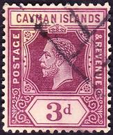 CAYMAN ISLANDS 1913 KGV 3d Purple/White SG45a FU - Kaaiman Eilanden