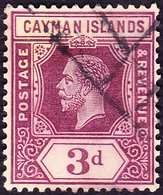 CAYMAN ISLANDS 1913 KGV 3d Purple/White SG45a FU - Cayman Islands
