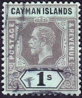 CAYMAN ISLANDS 1916 KGV 1/- Black/Green SG48 FU - Kaaiman Eilanden