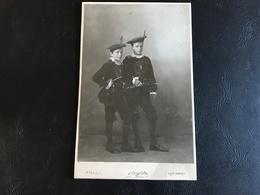 CDV PHOTO Grand Format - Enfants Musiciens Parade Costume Blason Neuchatel  - E. ANIPFELLER - NEUCHATEL - Anciennes (Av. 1900)