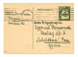 GG 1944: Ganzsache P8: Warschau An Stalag XVI A, Schildberg, Kriegsgefangenen - Occupation 1938-45