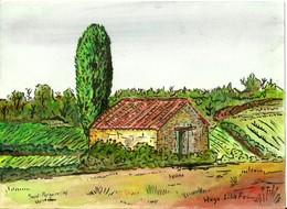 Aquarelle Sur Papier Saint-Pargoire Hérault Jasse De Gaillac Peyres Roses - Acuarelas