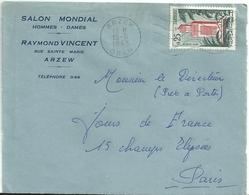YT 366 - Grande Mosquée De Tlemcem : Lettre D'Arzew Pour La France - Devant D'enveloppe - Mezquitas Y Sinagogas