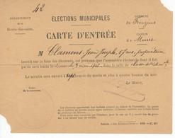 534 CARTE ENTREE ELECTIONS MUNICIPALES  3 MAI 1908 FROUZINS Département Du 31 LAFORGUE MAIRE  (canton MURET) - Mapas